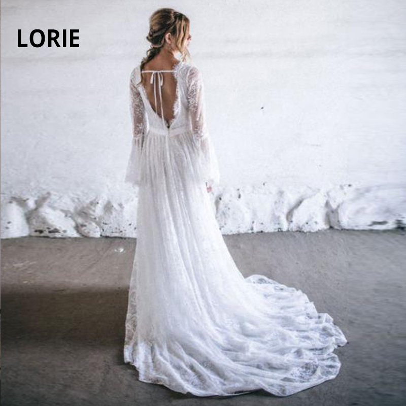 LORIE Full Lace Boho Wedding Dress 2020 A-Line Bell Long Sleeve Princess Bride Gown Backless Vintage Robe Mariage Plus Size