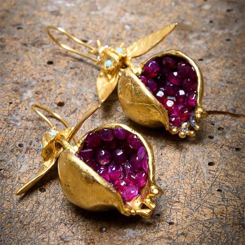 I & FDLK уникальные серьги с золотым гранатом, серьги с крючками для женщин, женские модные ювелирные изделия, подарки для нее