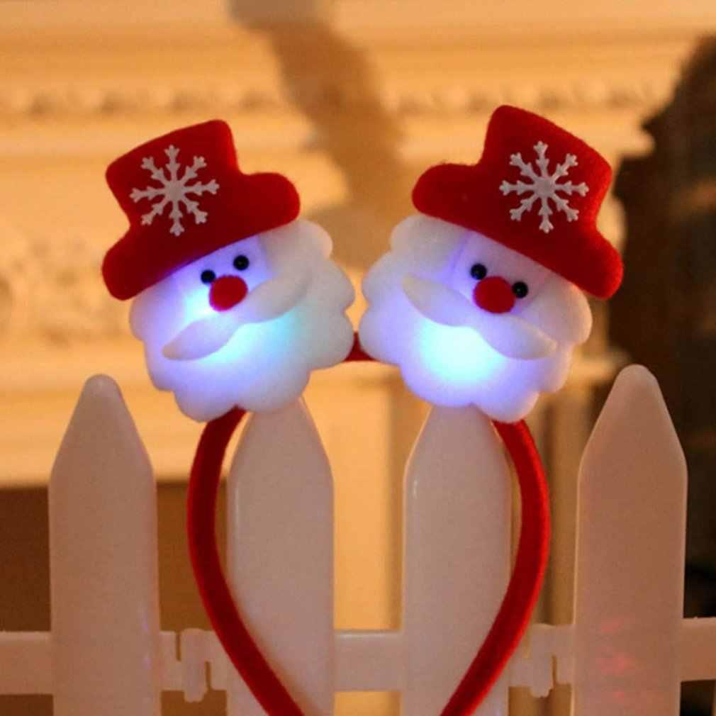 Dekorasi Natal Ikat Kepala Rambut Hoop Headpiece untuk Natal Kostum Pesta Hiasan Kepala dengan Festival Cahaya Perlengkapan Hadiah Anak