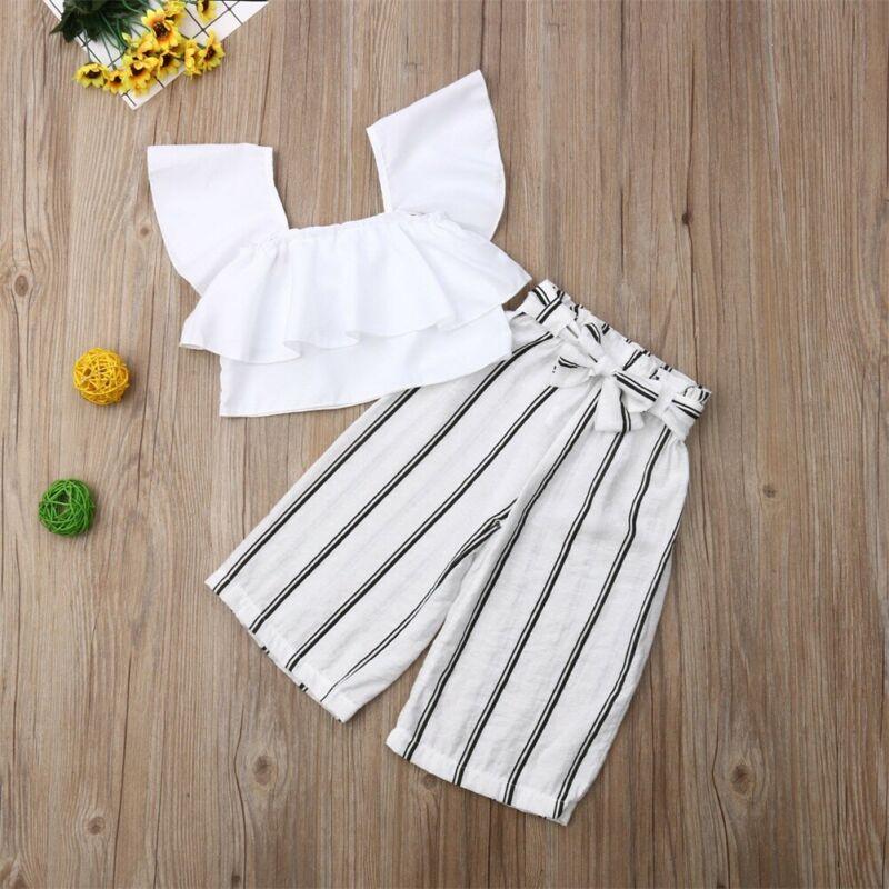 Pudcoco/2020 г. Летняя одежда для маленьких девочек из 2 предметов белый укороченный топ + штаны в полоску, комплект одежды, модная одежда, От 2 до 7 л...