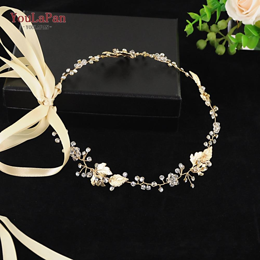 YouLaPan SH122 wedding dress belt gold leaves bridal rhinestone golden crystal for evening