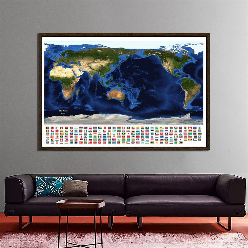 150x100cm The World Topography And Bathymetry Map Aerial View Of Satellite Map With National Flags For Geographic Research