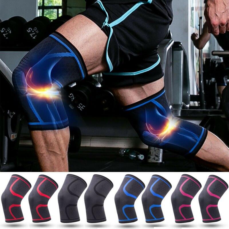 Plus Size M-2XL Men Women Nylon Elastic Sports Knee Pads Breathable Knee Support Brace Running Fitness