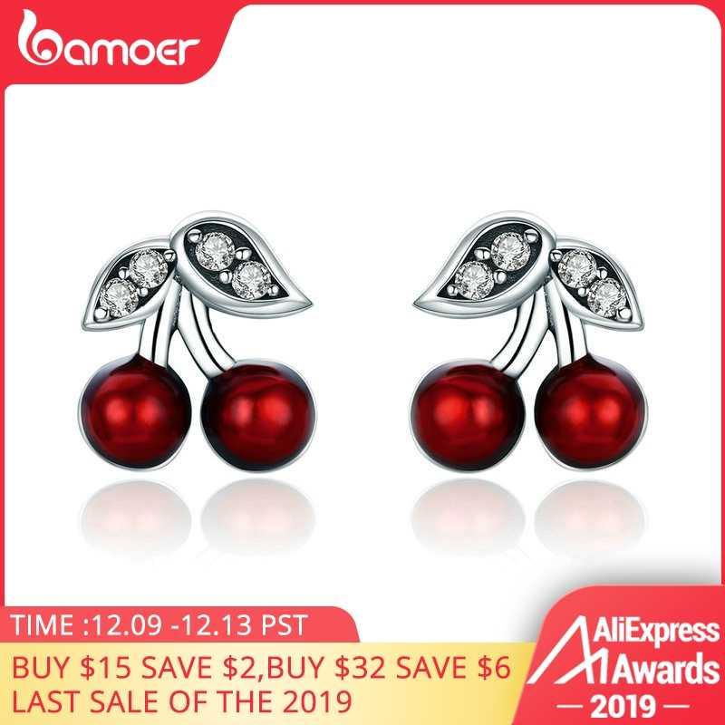 Bamoer Fashion 925 Sterling Silver Musim Panas Cherry Red Enamel & CZ Stud Anting-Anting untuk Wanita Sterling Perak Hadiah Perhiasan SCE404