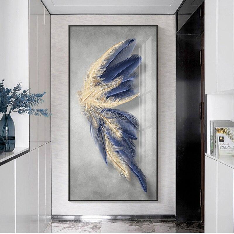 Personalizado pena decoração pintura de entrada de casa decoração pintura corredor final pendurado pintura vertical versão vivendo