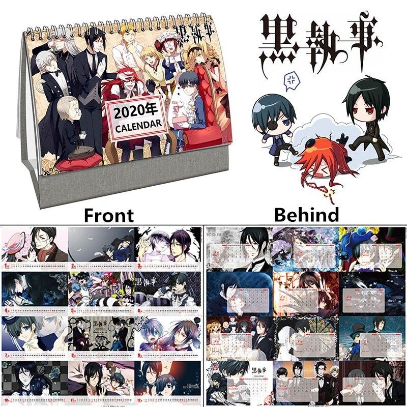 2020 Year  Japanese Anime Black Butler Desk Calendar Sebastian Cartoon Figure Calendars Agenda Organizer