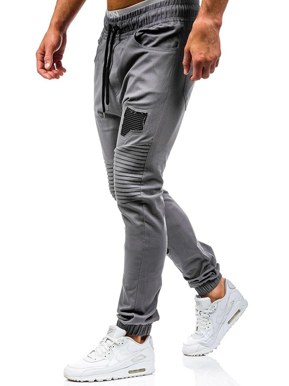 Men Sweatpants Casual Pants Slim fit Drawstring Sweatpants Slacks Elastic Waist Patchwork Pleated Ultrathin Male Trousers Jogger 22