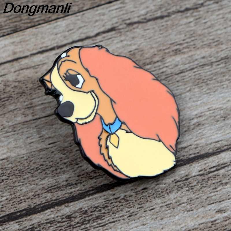 K760 Anjing Lucu Kartun Anime Lucu Logam Enamel dan Bros untuk Lapel Pin Tas Ransel Lencana Kerah Perhiasan