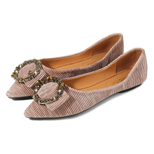 1 Pair Professional Women Falt Shoes Rhinestone Fashion Metal Decoration Ladies Luxury Crystal Office Slip-on Flats Mujer