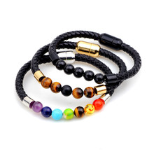 Braided Genuine Leather Bracelets & Bangles Men Colorful Stone Jewelry Magnet Clasp Beads Bracelet Fashion  for Women Pulseira trendy beads layered magnet clasp flower print bracelet for women