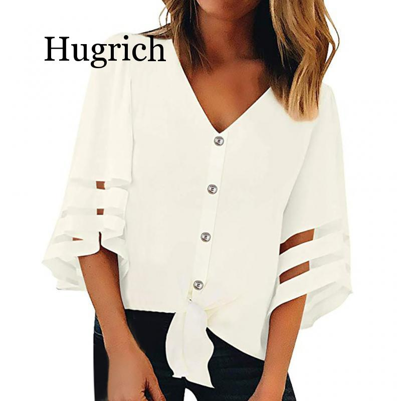 2020 Womens Tops and Blouses Women Button V Neck Mesh Panel Blouse 3/4 Bell Sleeve Loose Top Shirt Shirts White Women Blusas