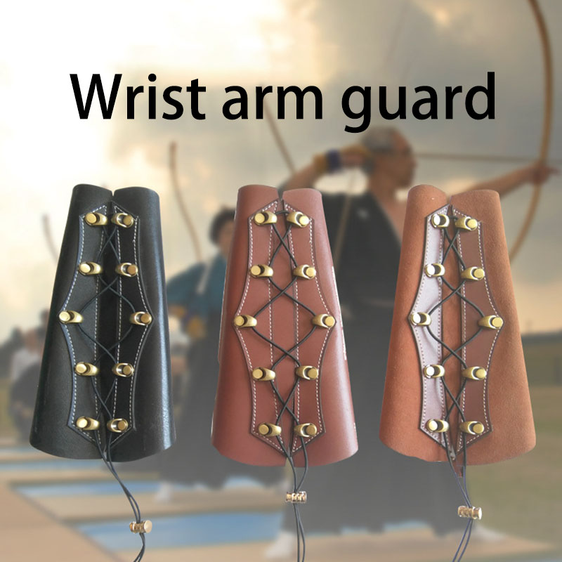 Leather Archery Armguard Adjustable Straps Left Hand Arm Guard Hunting Practice Shooting Armguard Safe Leather Archery Armguard