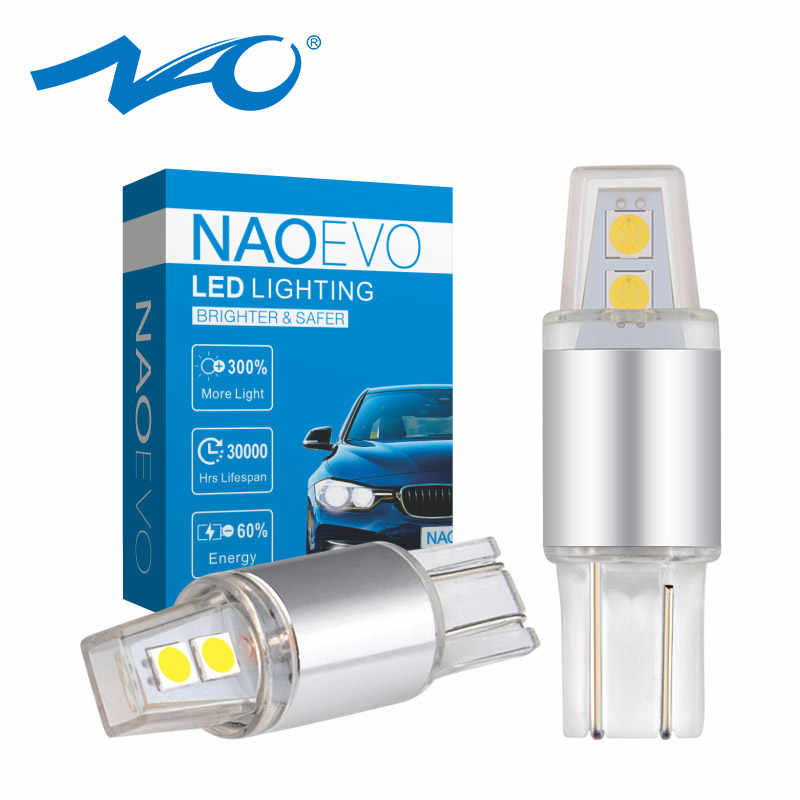 NAO T10 W5W LED 5w5 DRL light 12V Auto 3030 SMD 194 168 Clearance plate Light 6000K 450LM Xenon White Amber Red Car Acessories