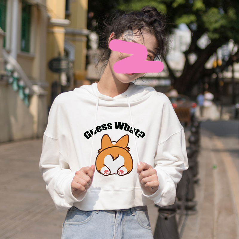 Harajuku Sweatshirt Hoodies Corgi Dog Crop Hoodie Womens Pullover Clothes For Teenage Girls Streetwear Womens Long Sleeve Top