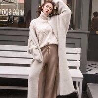 Autumn And Winter New Korean Boutique Mink Cashmere Cardigan Sweater Female Long Coat sweater cardigan