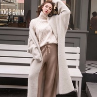 Autumn And Winter New Korean Boutique Mink Cashmere Cardigan Sweater Female Long Coat sweater cardigan