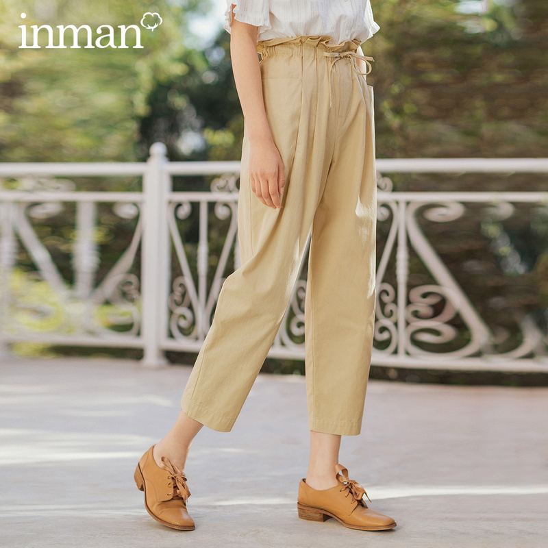 INMAN 2020 Summer New Arrival Pure Cotton Leisure High Waist Adjustable Drawstring Paper Bag Ankle Length Hip Pant