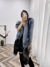 Ms. minshu longo xale de pele de raposa de luxo genuína pele de raposa xale toda a pele de raposa roubou com caudas lenço de pele de raposa natural