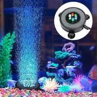 Светодиодный светильник для аквариума с воздушными пузырьками, воздушный занавес для аквариума, каменный диск с 6 светодиодами, меняющими ц...