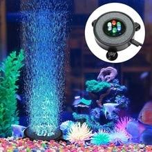 цена на Led Aquarium Air Bubble Light Fish Tank Air Curtain Bubble Stone Disk with 6 Color Changing Leds
