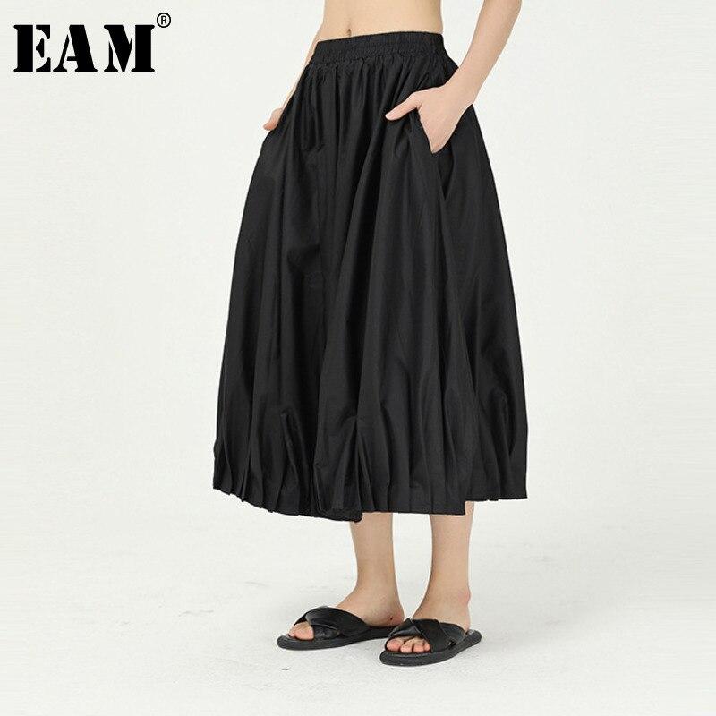 [EAM] High Elastic Waist Black Brief Pleated Temperament Half-body Skirt Women Fashion Tide New Spring Summer 2020 1W087