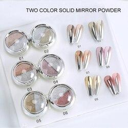 1 Box Double Rose Gold Color Nail Mirror Glitter Powder Nail Art Gel Polishing Chrome Flakes Pigment Dust Decorations