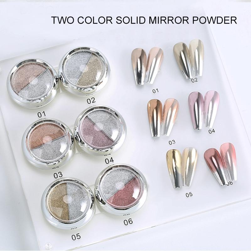1 коробка, двойной цвет розового золота, зеркало для ногтей, блестящий порошок для дизайна ногтей, гель для полировки, хромированные хлопья, пигментные пылезащитные украшения Блестки для ногтей      АлиЭкспресс - Для красоты и здоровья