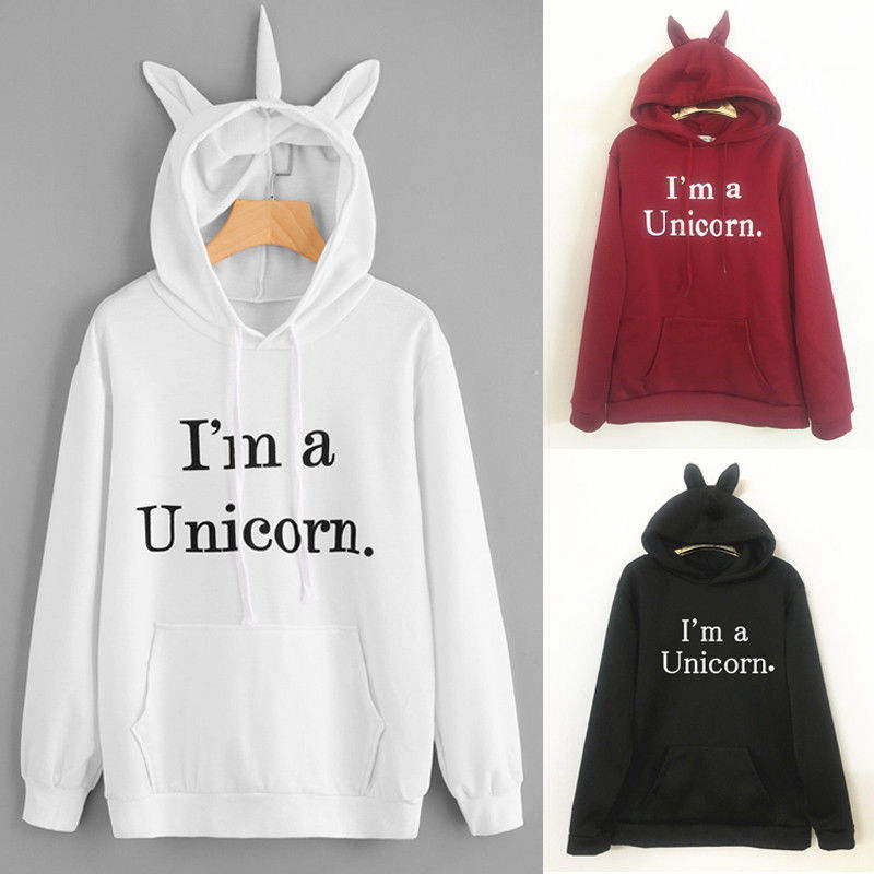 Winter New Harajuku Women Hoodies Letter Print Cute Unicorn Hoode Casual Loose Sweatshirt Women's Coat Jumper Hooded