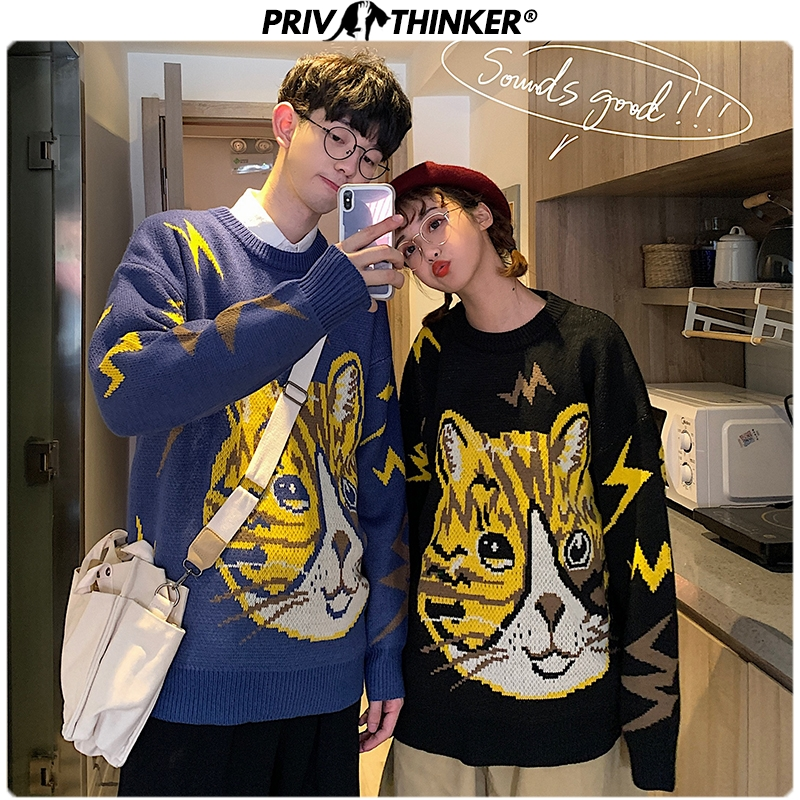 Privathinker Men Woman O-Neck Pullovers Sweater Couple Autumn Cat Print Knitted Top Lover Casual Korean Streetwear 2019 Sweaters