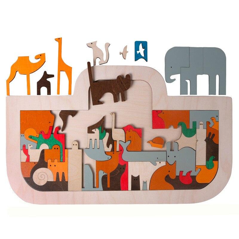 Nouveauté enfants jouets en bois grand 50*30 CM arche de noé Puzzles ART dans les jouets enfants début d'apprentissage Puzzle jouets pour bébé cadeaux