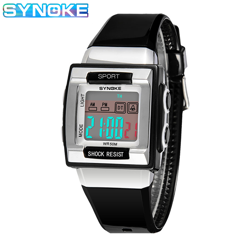 SYNOKE Digital Watch For Kids Rectangular Electronic Watch For Kids Boys Girls Diving Swimming Waterproof Watch Child's Gift