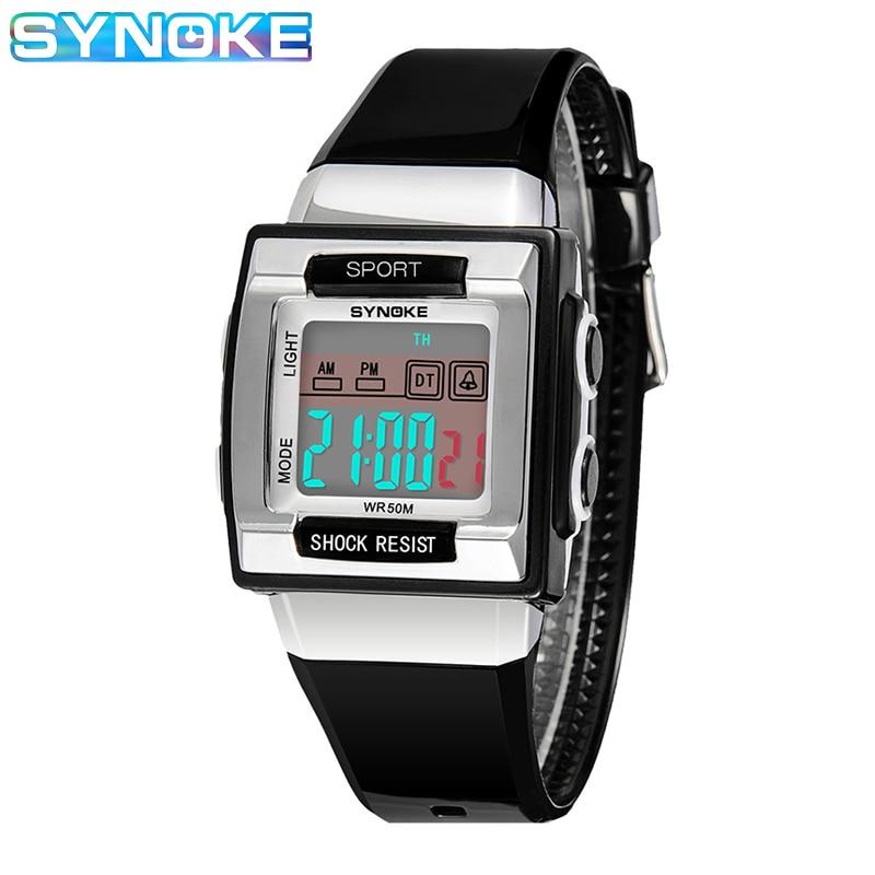 SYNOKE Digital Watch For Kids Rectangular Electronic Watch For Kids Boys Girls Diving Swimming Waterproof Watch Child's Gift