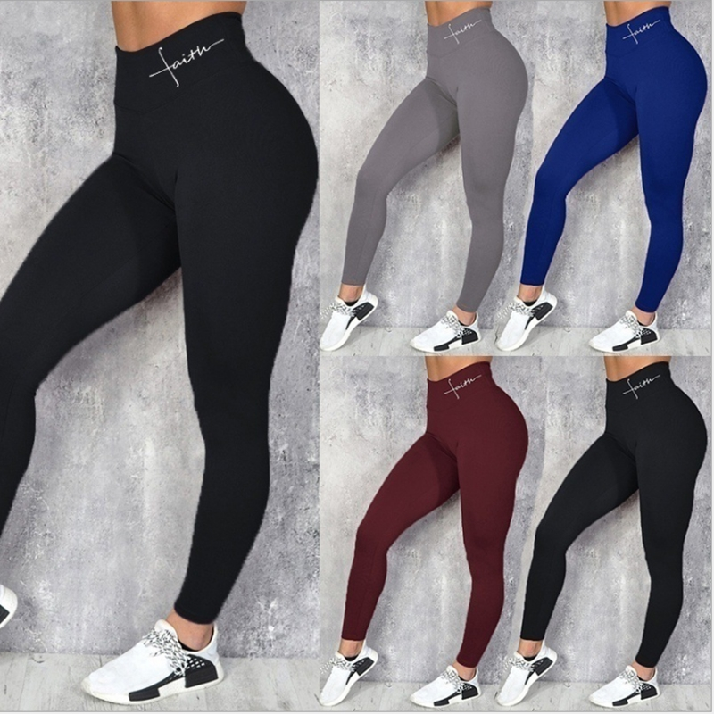 High Waist Leggings Letter Printing Multicolor Skinny Pants Tummy Control Workout Leggings Super Soft Jeggings Legins O5A098