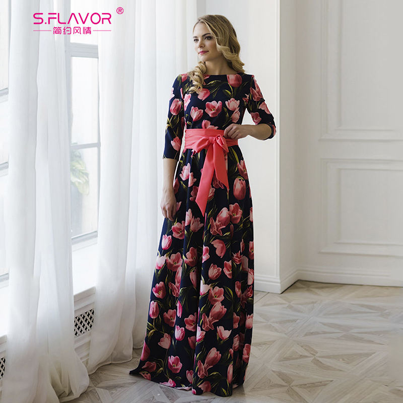 S.FLAVOR Floral Print Long Dress Bohemian Three Quarter Sleeve Sexy Dress 2019 Women O Neck Slim Elegant Autumn Winter Dress