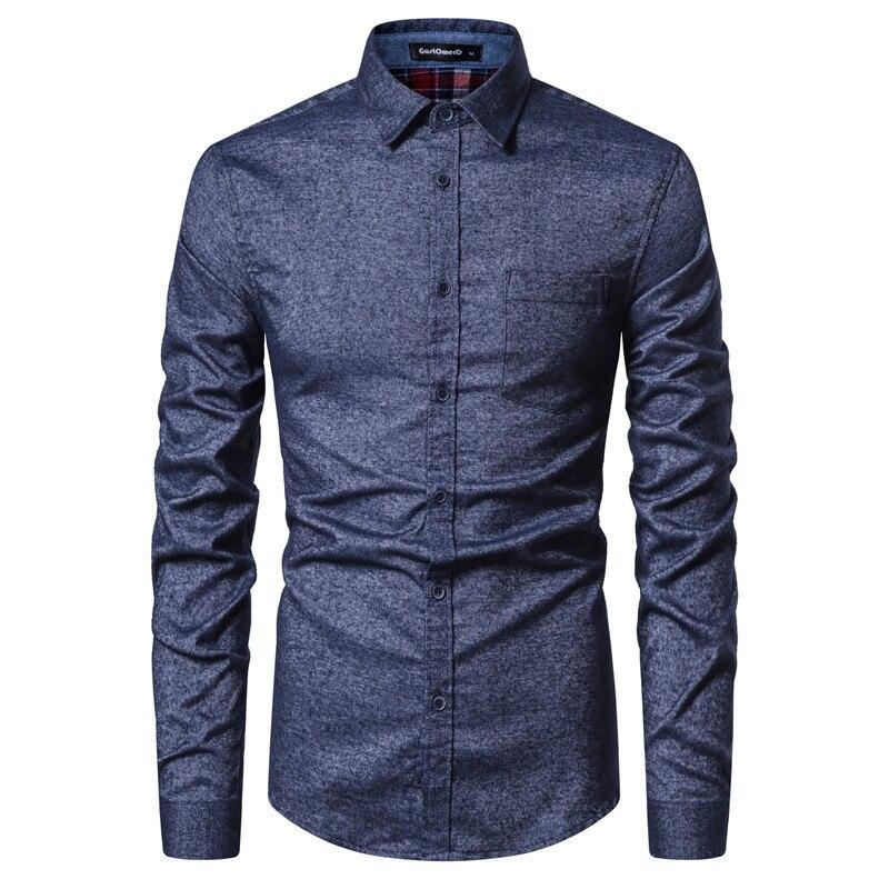 2020 New Spring Cotton Mens Dress Shirt Social Business Casual Shirt Men Slim Fit Patchwork Mens Shirts Long Sleeve Men Clothing