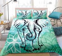 Elephant Duvet Cover Set Lotus flower Background Bedding Set Boho Quilt Cover Teen Kids Gift Bed Set Dropship Home Textiles