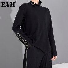 [EAM las mujeres negro hueco División asimétrica conjunto Camiseta con cuello alto nueva de moda de manga larga de primavera y otoño 2021 1M87401
