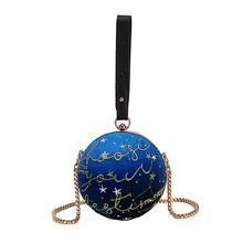 Women Handbag Embroidered Star Pattern Corduroy Round Casual Ladies Chain Lady Purse Shoulder Crossbody Mini Messenger Bag Flap