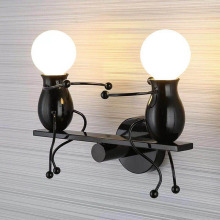 Modern creative wall lamp LED wall lamp bedside lamp hanging lamp Nordic iron dwarf doll children's room decorative wall lamp