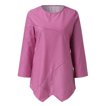 Jocoo Jolee Spring Plus Size Striped Long Sleeve V Neck Linen Baggy Blouse Shirt Ladies Summer Tunic Tops Casual Loose Shirt 6