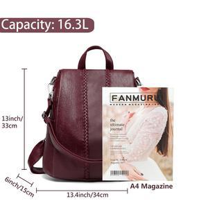Image 4 - Vaschy moda vegan couro anti roubo mochila feminina tecer vintage único macio saco de escola para adolescente menina designer bolsa