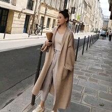 Зимнее элегантное пальто, Свободный вязаный кардиган, шерстяной свитер, очень мягкий высококачественный кардиган, вязаный жакет для женщин