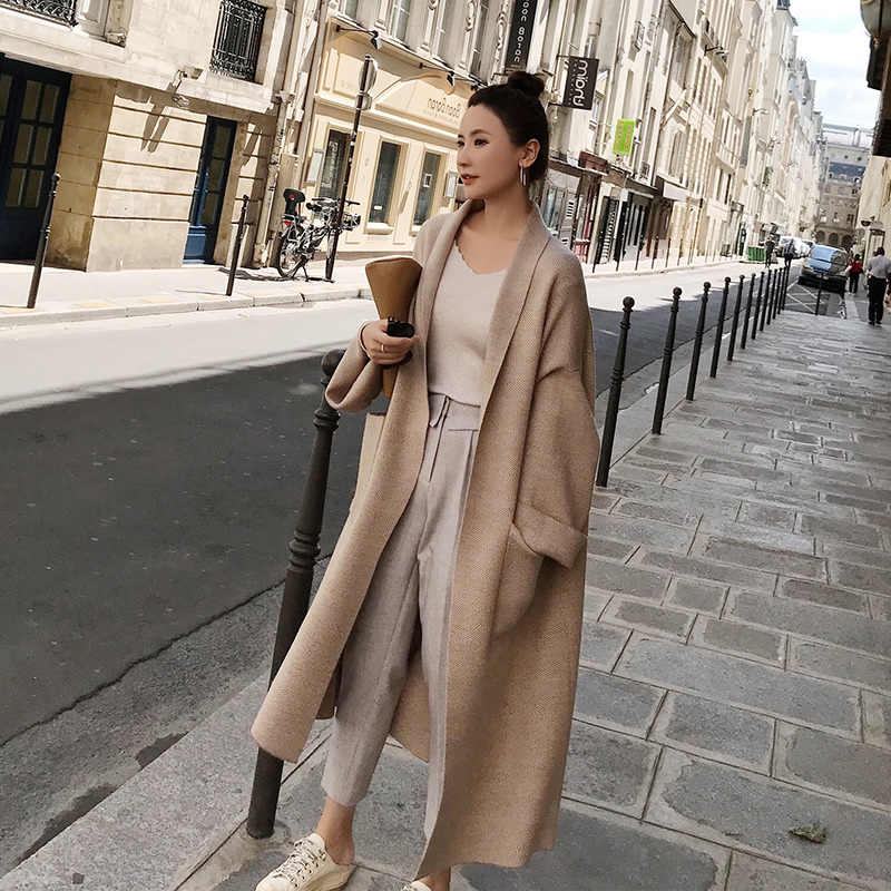 Winter Elegant Winter Coats Loose knit Cardigan Woolen Sweater Oversized Extra Soft High-end Cardigan Knitting Coat for Women