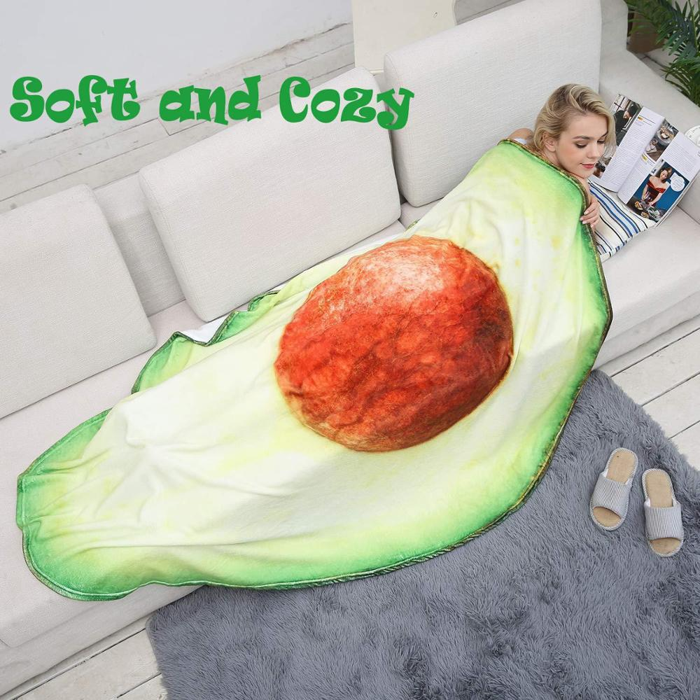CANIRICA Avocado Blanket Funny Food Flannel Blanket for Bed Christmas Gift Fleece Throw Blanket Plush Bedspread image