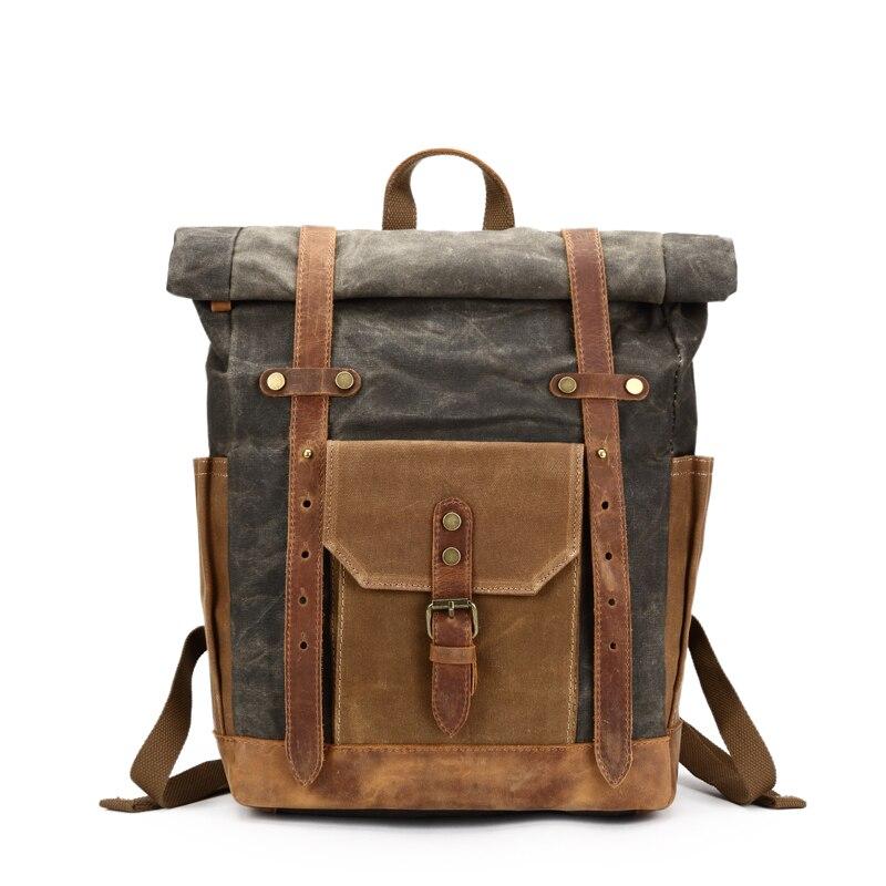 Vintage huile ciré toile cuir sac à dos grande capacité adolescent voyage imperméable Daypacks 14 pouces ordinateurs portables sac à dos vert