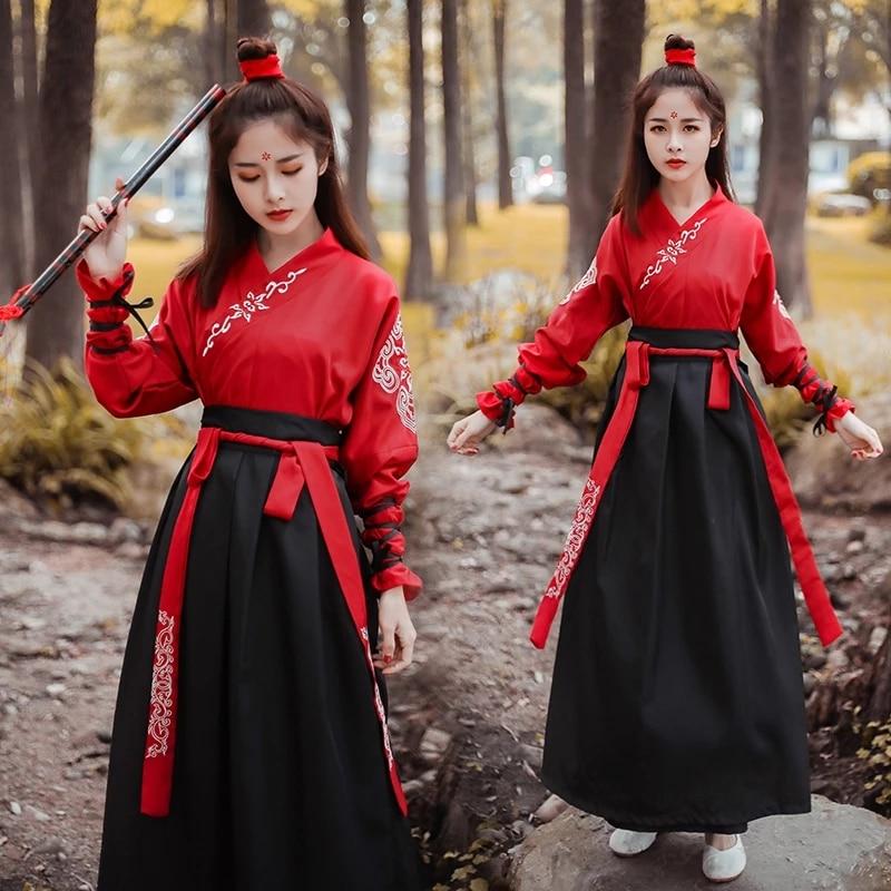 Hommes femmes anciens Costumes chinois Hanfu robe Festival scène Performance Folk danse robe broderie traditionnelle fée Cosplay