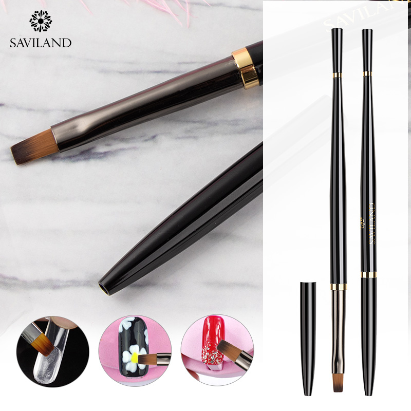 SAVILAND Black Flat Brush Nail Brush Professional Painting Drawing Gel C Curve Nail Brush Poly Gel Nail Art Extension