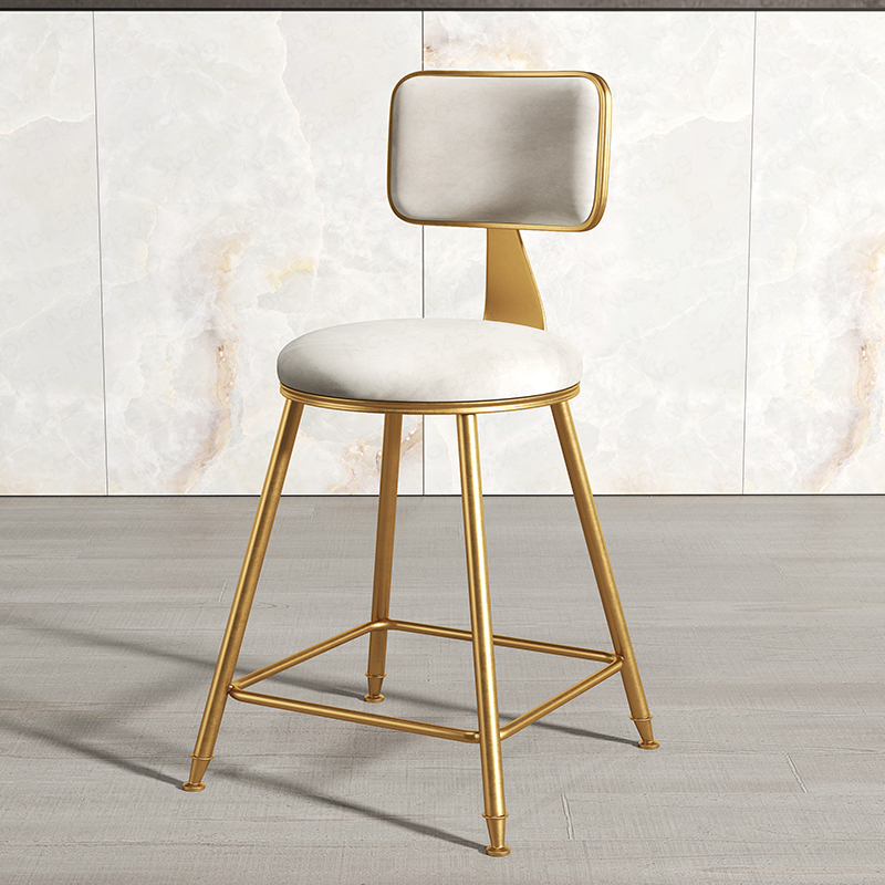 30%N3A1Nordic Wrought Iron Bar Stool Modern Minimalist Home Backrest Dining Chair High Stool Cafe Bar Stool Bar Stool