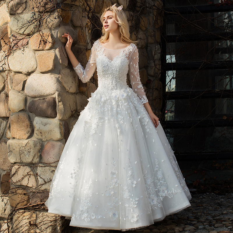 Dressv Scoop Neck Wedding Dress Beading A Line 3/4 Sleeves Lace Up Floor Length Bridal Tulle Outdoor&church Wedding Dresses