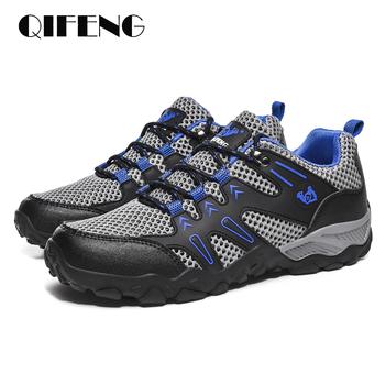 Nowa gorąca sprzedaż Super lekkie obuwie męskie letnie oddychające sportowe buty Jogging miękkie wygodne siatkowe trampki czarne obuwie 47 tanie i dobre opinie QIFENG Siateczka (przepuszczająca powietrze) CN (pochodzenie) Sznurowane Dobrze pasuje do rozmiaru wybierz swój normalny rozmiar